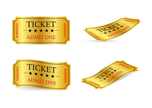 Realistic golden show ticket. Old premium cinema entrance tickets.