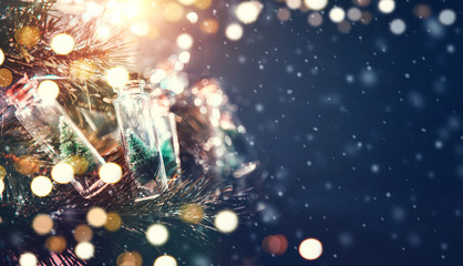 Fototapete - Merry Christmas and happy new year concept, Close up, Elegant Christmas tree in glass jar decoration.