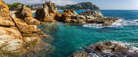 Obraz Seascape of resort area of the Costa Brava near town Lloret de Mar in Spain - fototapety do salonu