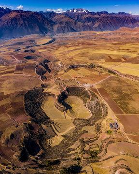 peru moray sacred valley inca panorama aerial drone