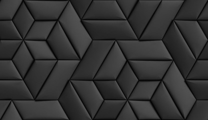 3D wallpaper of 3D soft geometry tiles made from black leather. High quality seamless realistic texture.