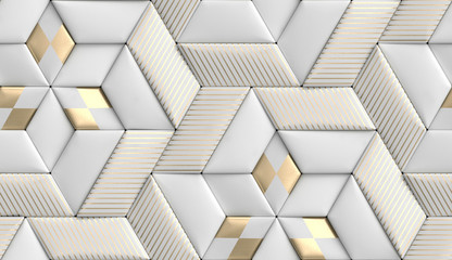 3D wallpaper of 3D soft geometry tiles made from white leather with golden decor stripes and rhombus. High quality seamless realistic texture.