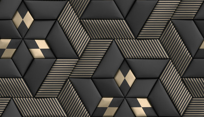 3D wallpaper of 3D soft geometry tiles made from black leather with golden decor stripes and rhombus. High quality seamless realistic texture.