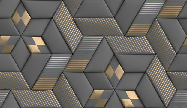 3D wallpaper of 3D soft geometry tiles made from gray leather with golden decor stripes and rhombus. High quality seamless realistic texture.