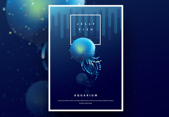 Aquarium Poster Layout with Blue Jellyfish