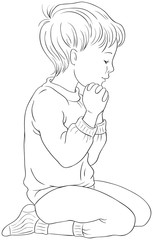 Illustration of a Little Boy Kneeling Down in Prayer with her Hands Folded Coloring Page