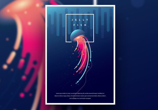 Aquarium Poster Layout with Pink and Blue Jellyfish