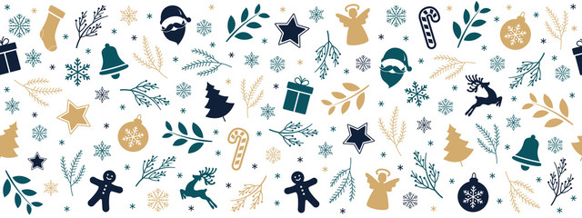 Wall Mural - Christmas icon elements golden black green border pattern isolated white background.