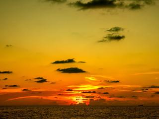 Spectacular sunset over the beach