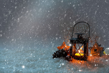 Christmas background, lantern, snow, candle