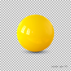 Obraz Yellow realistic ball vector .Isolated sphere for advertising and lettering. - fototapety do salonu