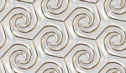 3D wallpaper of 3D tiles white glossy hexagons with golden decor elements. High quality seamless realistic texture.