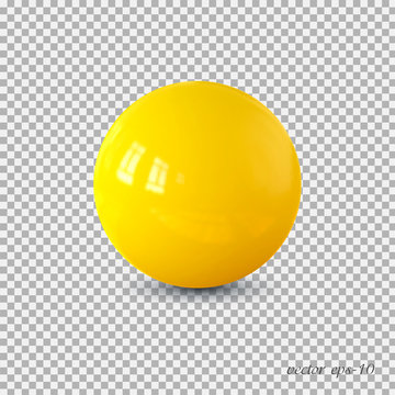 Yellow realistic ball vector .Isolated sphere for advertising and lettering.