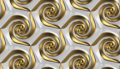 3D wallpaper of 3D tiles white hexagons with golden elements.High quality seamless realistic texture.