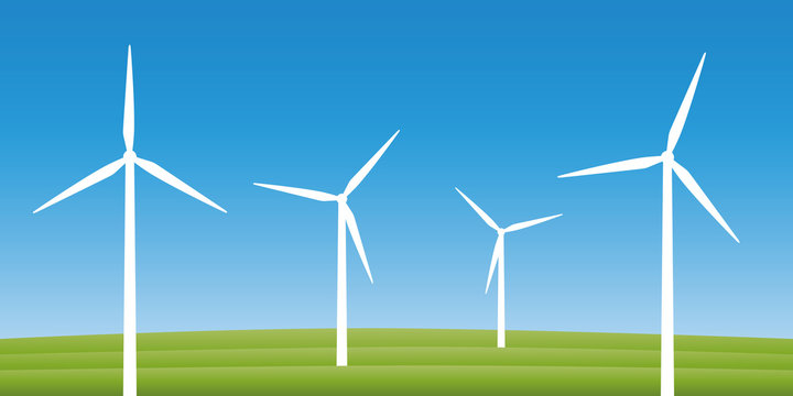 windmills on a field wind power energy concept vector illustration EPS10