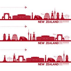 Wall Mural - New Zealand travel destination grand vector illustration.