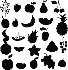 set of black different fruits isilated on white background
