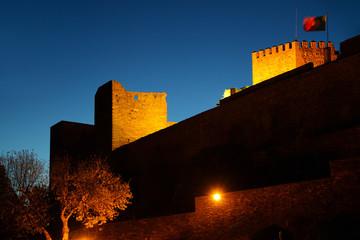 Beautiful light up castle of medieval town of Monsaraz in Alentejo, Portugal