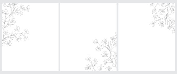 Set of 3 Blooming Tree Twigs Vector Illustration. Gray Tree Branches with Flowers Isolated on a White Background. Simple Elegant Wedding Cards. Floral Hand Drawn Arts. Illustration Without Text.