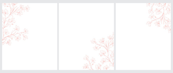Set of 3 Blooming Tree Twigs Vector Illustration. Pink Tree Branches with Flowers Isolated on a White Background. Simple Elegant Wedding Cards. Floral Hand Drawn Arts. Illustration Without Text.