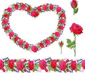 Heart of red roses isolated on white. decorative elements and border made of roses and berries and leaves
