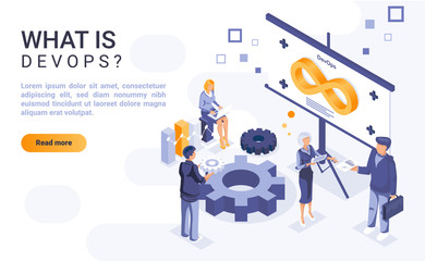 What is devops landing page template with isometric illustration. Software development and information technology operations collaboration homepage interface layout with isometry. 3d webpage design
