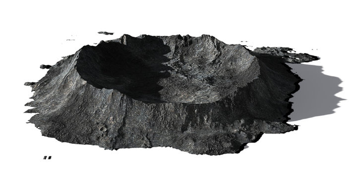 crater on the surface of the Moon, terrain model isolated with shadow on white background