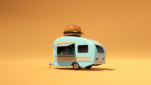 Vintage Food truck 3D Illustration