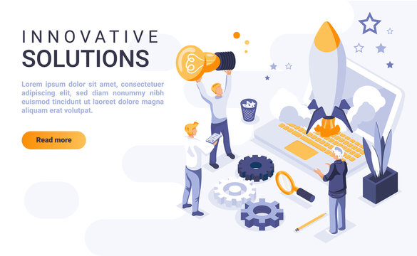 Innovative solutions landing page vector template with isometric illustration. Creative entrepreneurship homepage interface layout with isometry. Brainstorming and idea generation 3d webpage design