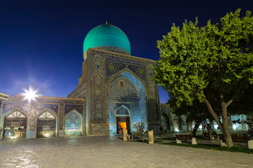 The inner courtyard of the Ulugbek madrasah at night. Uzbekistan