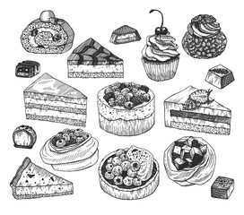 Vector ink sketch of desserts. Hand drawn collection of cakes, tarts, meringues and candies isolated on a white.