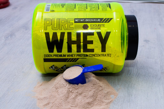 Galicia, Spain - October 30, 2019: whey whey protein, food supplements for athletes