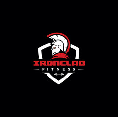 Spartan Fitness And Gym Logo Vector  . Fitness Logo . Bodybuilding Logo design inspiration . Ironclad Logo . warrior logo.
