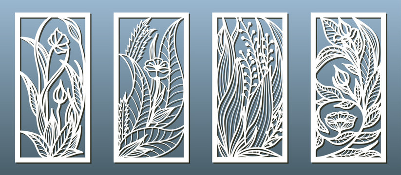 Laser cut panel template, anstract floral pattern. Stencil for wood or metal cutting, carving, paper art, fretwork