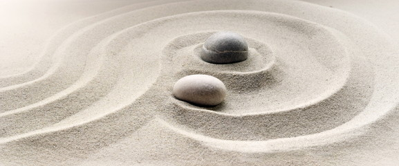 Stores à enrouleur Zen pierres a sable zen garden meditation stone background with stones and lines in sand for relaxation balance and harmony spirituality or spa wellness