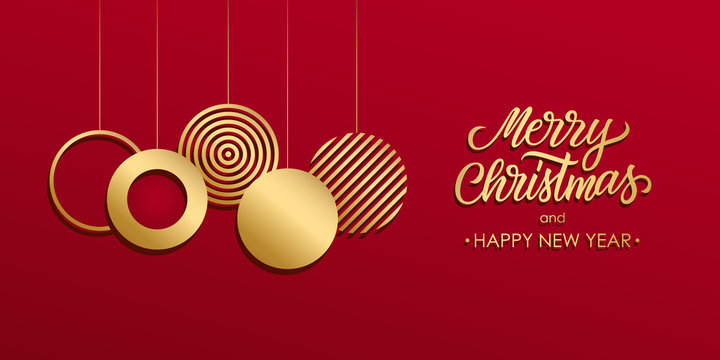 Christmas luxury holiday banner with gold handwritten Merry Christmas greetings and gold colored christmas balls. Vector illustration.