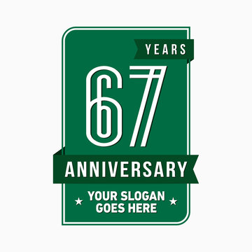 67 years anniversary design template. Sixty-seven years celebration logo. Vector and illustration.