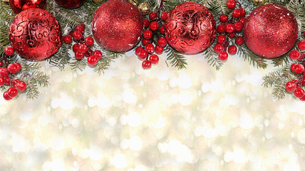 Christmas and New Year background with bokeh lights, for branches with decorations in snow flakes, place for text. New Year card for congratulations, selective focus, banner