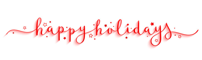 HAPPY HOLIDAYS red vector brush calligraphy banner with swashes and stars Fototapete