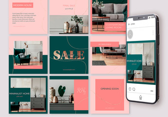 Set of 15 Social Media Post Layout Set with Fluid Golden Lines. Editable Endless Puzzle Feed Template.