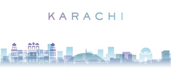 Karachi Transparent Layers Gradient Landmarks Skyline Fototapete