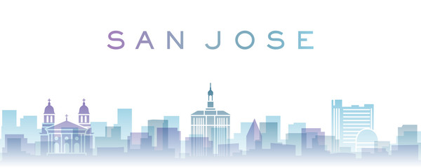 San Jose Transparent Layers Gradient Landmarks Skyline