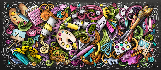 Artist supply color illustration. Visual arts doodle