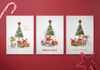 Holiday Card Layout Set with Christmas Character Illustrations. Kids in Mouse Costumes. Merry Christmas. Happy Holidays.