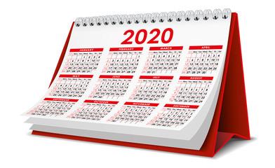 Red 2020 Calendar