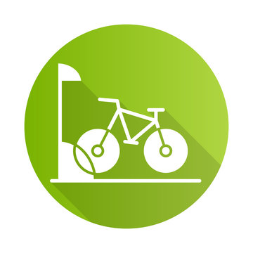 Bike parking green flat design long shadow glyph icon. Bicycle storage. Cycle rack. Sport activity. Place for wheels. Eco transport. City biking. Apartment amenities. Vector silhouette illustration