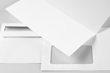 Blank Letterhead or Flyer and Two Envelopes