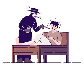 Medieval plague doctor and patient flat vector illustration. Middle age practitioner treating sick man isolated cartoon characters with outline elements on white background. Acient medical treatment
