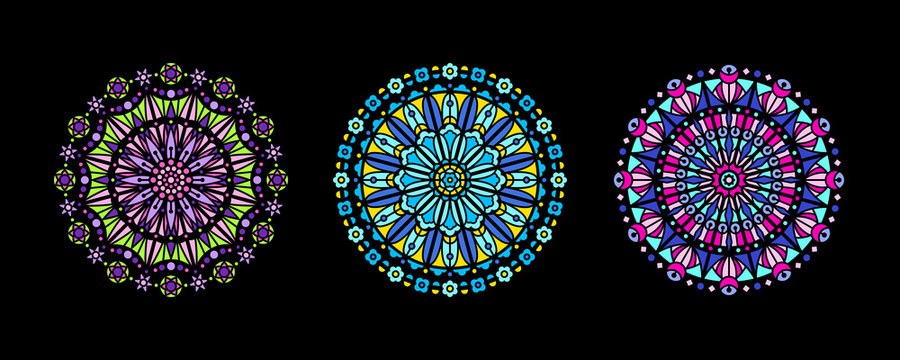 Stained glass illustration collection, circle shape, stylized rose window mandala ornament, tracery. Round frames set, radial floral motive design element. Colorful mosaic decoration, black background