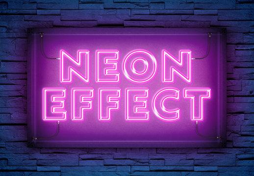 Neon Light Text Effect on Brick Wall Mockup